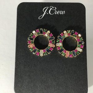 J. Crew Jewelry - J.Crew Multi Color Pave Circle Earrings